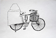 Bicycle Drawings - Shop On The Bicycle  by Ravi Shekhar Pandey