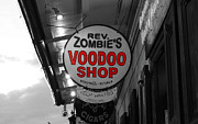 Voodoo Shop Posters - Shop Signs French Quarter New Orleans Color Splash Black and White Poster by Shawn OBrien