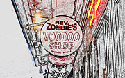 Voodoo Shop Posters - Shop Signs French Quarter New Orleans Colored Pencil Digital Art Poster by Shawn OBrien