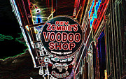 Voodoo Shop Posters - Shop Signs French Quarter New Orleans Glowing Edges Digital Art Poster by Shawn OBrien