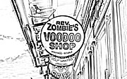 Voodoo Shop Posters - Shop Signs French Quarter New Orleans Photocopy Digital Art Poster by Shawn OBrien