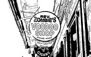 Voodoo Shop Posters - Shop Signs French Quarter New Orleans Stamp Digital Art Poster by Shawn OBrien