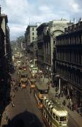 Urban Scenes Photos - Shoppers And Trams Clog Renfield Street by B. Anthony Stewart