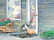 Turkey Mixed Media Prints - Shopping Buddies Print by Arline Wagner