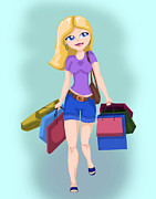 Young Money Digital Art - Shopping girl by Anna Kosenko