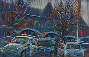 Car Pastels Prints - Shopping Parking Print by Donald Maier