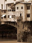 Shops Photos - Shops on the Ponte Vecchio by Donna Corless