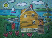 Folk  Pastels - Shore Cottage by Karla Gerard
