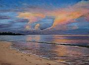Ocean Shore Pastels Prints - Shore of Solitude Print by Susan Jenkins