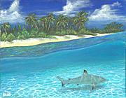 Sharks Painting Metal Prints - Shore Patrol Metal Print by Jennifer Belote