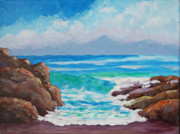 Calif. On Google Painting Originals - Shorebreak by Bob Phillips