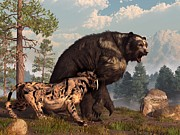 Paleoart Prints - Short-faced Bear and Saber-Toothed Cat Print by Daniel Eskridge