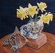 Daffodils Painting Metal Prints - Short Story II Metal Print by Jenny Armitage