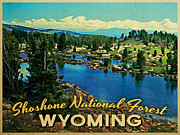 Wyoming Digital Art Framed Prints - Shoshone National Forest Wyoming Framed Print by Vintage Poster Designs