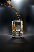 Shot Glass Prints - Shot Glass Drink On Black Print by Chris Stein