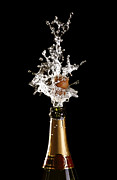 Fizz Posters - Shotting Cork Champagne Bottle Poster by Gualtiero Boffi