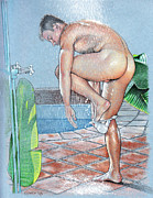 Erotic Naked Man Prints - Shower Print by Chance Manart