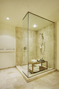 Shower Posters - Shower in Upscale Bathroom Poster by Andersen Ross