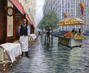 One Point Perspective Paintings - Shower On Sixth  Avenue by Victor Zucconi