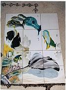 Porcelain. Wildlife Ceramics - Shower painting in fresco  1.5 meter by Fleurlise