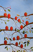 Flock Of Bird Paintings - Showtime by Amy Giacomelli