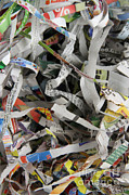 Printed Matter Posters - Shredded Paper Poster by Photo Researchers, Inc.