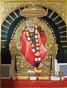 Baba Painting Posters - Shree Shirdi Sai Baba Poster by Ashok  Sharma