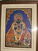 Religious Glass Art - Shree Thakur Ji by Renu Sharma