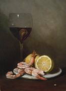 Marx Paintings - Shrimp and Red Wine by Christine Marx