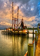 Shrimping Posters - Shrimp Boat at Sunset Poster by Debra and Dave Vanderlaan