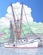 Trawler Drawings Metal Prints - Shrimp Boat Betty Jo Metal Print by Calvert Koerber