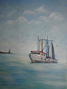 Galveston Paintings - Shrimp Boat by Carolyn Speer