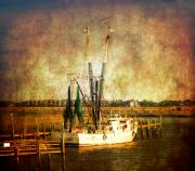 Nautical-boats-ships-waves - Shrimp Boat in Charleston by Susanne Van Hulst