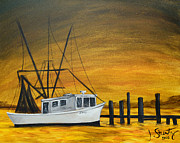 Shrimp Painting Originals - Shrimp Boat by Jessica Stuntz