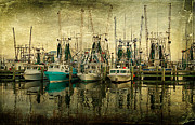 Shrimp Boats Posters - Shrimp Boat Lineup Poster by Joan McCool