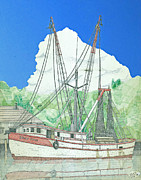 Trawler Drawings Metal Prints - Shrimp Boat Sally Faye Metal Print by Calvert Koerber