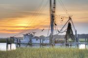 Sc Posters - Shrimp Boat Sunset Charleston SC Poster by Dustin K Ryan