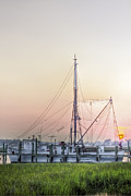 Lowcountry Prints - Shrimp Boat Sunset Print by Drew Castelhano