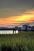 Shrimp Boat Art - Shrimp Boat Sunset by Dustin K Ryan