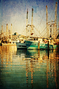 Joan Mccool Prints - Shrimp Boats at the Harbor Print by Joan McCool