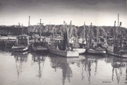 Boats In Harbor Digital Art Posters - Shrimp Boats Mosquito Fleet Poster by Fred Jinkins