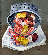 Corn Painting Posters - Shrimp Boil Poster by Elaine Hodges