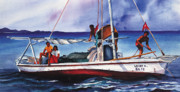Shrimp Painting Prints - Shrimp divers in Belize Print by Chuck Creasy
