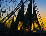Shrimp Boat Photos - Shrimp Net Sunset by Al Powell Photography USA