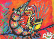 Outsider Art Paintings - Shrimp On Sax by Robert Wolverton Jr