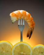 Lemons Framed Prints - Shrimp over lemons Framed Print by Vance Fox