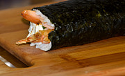 Home Made Food Photos - Shrimp Sushi Roll On Cutting Board by Carolyn Marshall