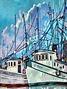 Bayous Painting Prints - Shrimpboats Print by Lisa Tygier Diamond
