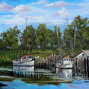Louisiana Artist Paintings - Shrimping Boats by Dianne Parks