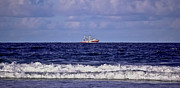 Shrimp Boat Prints - Shrimping on the Horizon Print by DigiArt Diaries by Vicky Browning